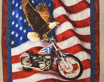 Patriotic Quilt, Liberty ride, motorcycle, Bald Eagle, red, white and blue, lap quilt, adult quilt, blanket, handmade