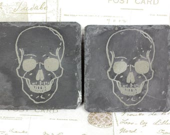 Pair of slate coasters with engraved skulls, Halloween present, great housewarming gift or wedding present