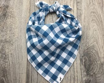 Teal Gingham Plaid Dog Bandana, Dog Bandana, Teal Dog Bandana, Cotton Bandana, Pet Gift, Dog handkerchief, #dog, Dog Scarf, cat bandana