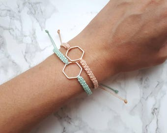 Macrame bracelet, hexagon pendant bracelet, minimal bracelet, friendship bracelet, dainty bracelet, braided cord bracelet, gift for her