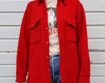 Vintage 40's Woolrich Button Down Jacket | Red Oxford Shirt Jacket | Thick Wool Button Up | Woolrich Hunting Shirt | Size Medium Long