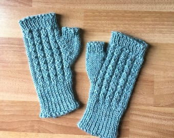 Soft Blue Wool Fingerless Mittens - Fingerless Mitts - For Adults or Teenagers