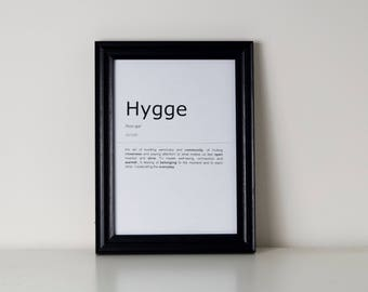Hygge Definition Print. Inspirational Quote Print.Wall Art. Motivational Life Quote. Typography Art. Monochrome Print. Home Décor.Wall Décor