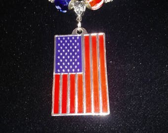 USA FLAG PENDANT Reversible Necklace with Red/White/Blue Accented Beads  - Land of the Free Because of the Brave !!