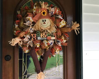 Fall Scarecrow Deco Mesh Wreath for Front Door Holiday Decor