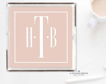 Monogrammed Lucite Tray-Acrylic Tray/ Personalized  office desk organizer Tray/ custom  catch all Home Decor in two sizes 6X6-12X12