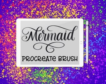 Mermaid lettering brush for Procreate