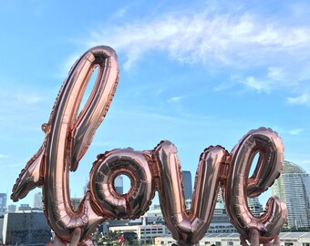 Love Rose Gold Balloon | Scripty Love Foil Balloon | Engagement Wedding Bridal Anniversary Party