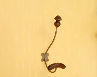 Single Hat and Coat Hook, Wabi Sabi Hooks, Traditional French Vintage Coat Hook, Metal and Wood Wall Hooks