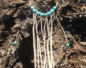 Suede bib necklace