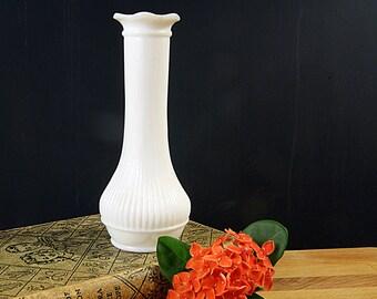 Milk Glass Bud Vase, Vintage Vases, Ribbed Glass, Petal Flower Vases