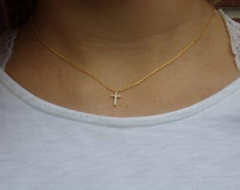 Dainty Cross Necklace | Tiny Cross Necklace | Gold Cross Necklace