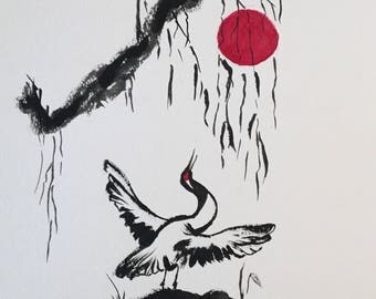 """Crane and the Red Moon 14"""" x 11"""" matted/unframed"""