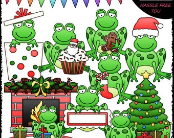 Christmas Frogs Clip Art and B&W Set