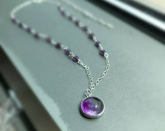 "Purple beads Amethyst sterling silver necklace, Amethyst pendent, 20"" length."