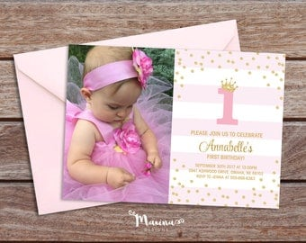 1st Birthday Girl Invitation with photo, First Birthday party Invite, Pink gold baby girl invitation, Birthday party decor,sign labels tags