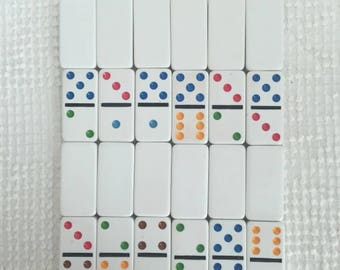 Dominos All White with Bright Color Dots - Set of 20 - Perfect for Rubber Stamping, Crafting, Embellishing, Home Decor Projects