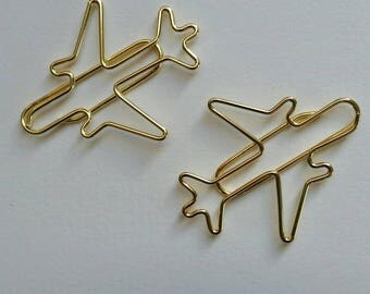 2 x Airplane shaped paper clips. Page markers. Gold plated. Journal Diary Midori Hobonichi Travellers Notebook complement