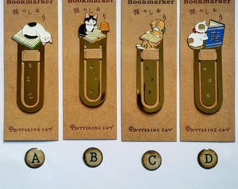 Pottering Cat bookmarks/ paper clips. Page markers. Gold plated. Journal Diary Midori Travellers Notebook complement