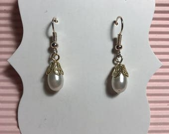 Costume Pearl Drop Earrings, French hook