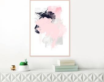 Pink and Grey Abstract Art, Large Abstract Painting, , Downloadable Art, Pale Pink and Wall Art, Modern Printable Wall Art, Original Art