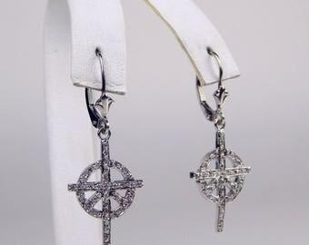 18k white gold diamond  earrings #10524
