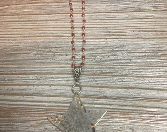 Red Coral Rosary Chain with Hammered Silver Star Pendant