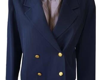 CHRISTIAN DIOR Vintage Blue Cropped Wool Jacket