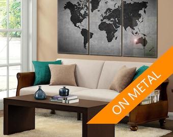 Attirant World Map, Custom Metal Sign, Gray World Map, Metal Sign, World Map