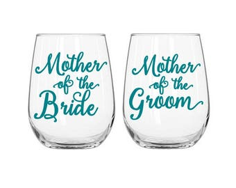 Mother of the Bride Decal, Mother of the Groom Decal, DIY Wedding Decal, Gift for Mother, Wedding Decal, Wine Glass Decal, Wedding Favors