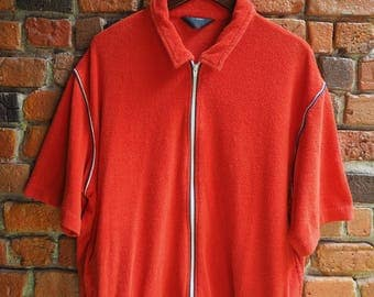 Men's 80s Red Terry Cloth Flannel Short Sleeve T-Shirt Top With Zip Fastening Size Large