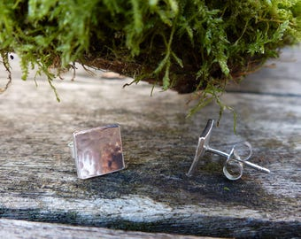 Sterling Silver Square Stud Earrings with Hammered Texture, Sterling Silver Ear Posts, Gift For Her, Everyday Earrings, Bridesmaid Gift
