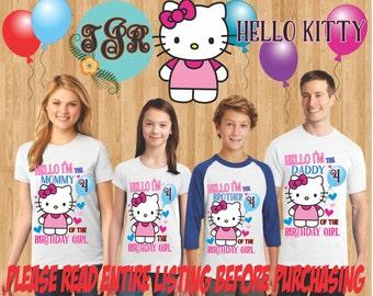 HELLO KITTY Birthday GIRL family Shirts design Raglan Long Sleeve Short Sleeve Tank tops Infant/Toddler Sizes Ladies Cut Tshirt onesie