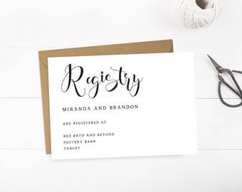 Simple Wedding Registry Cards Baby Registry Card Gift Registry Card Bridal Registry Wedding Invitation Insert Enclosure Cards PDF Template