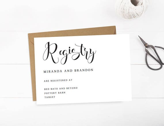 Boardmans Gift Registry Weddings: Wedding Registry Cards Baby Registry Card Gift Registry Card