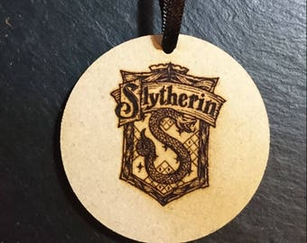 Harry Potter Hogwarts Slytherin House Sigil Logo Tag Token Decoration MDF Wood Wizard Birthday Gift