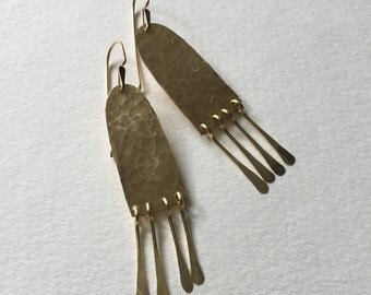 Hammered Arch Earrings with Fringe