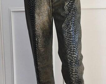 1990s Emanuel Ungaro Parallele PARIS Crocodile Embossed Jeans--Size 10  (10544CL)