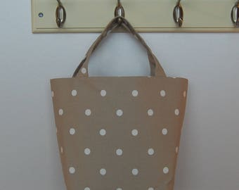 Gorgeous Handcrafted Spotty Beige Linen Tote Bag