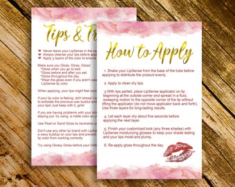 LipSense Tips & Tricks, LipSense Application Card, How To Apply, Instant Download, Lipsense Branding, Lipsense Marketing, Digital File