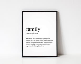 Family Definition Print, Dictionary Print, Wall Art Prints, Wall Art, Home Decor prints, Quote Prints, Gifts for friends, Christmas Gifts