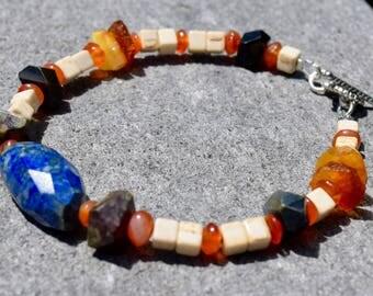 Men's Energy Stone Bracelet ~ Lapis Lazuli, Dragon's Blood, Amber and Carnelian Bracelet