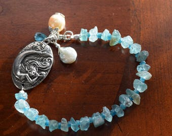 Mermaid's Love Bracelet~ Raw Apatite Bracelet~Inspirational Bracelet~ Beach Jewelry~
