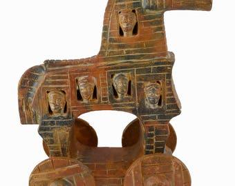 Ancient Greek Trojan Horse Sculpture