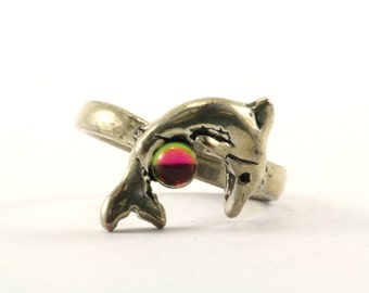 Vintage Dolphin Watermelon Tourmaline Ring 925 Sterling Silver RG 1802