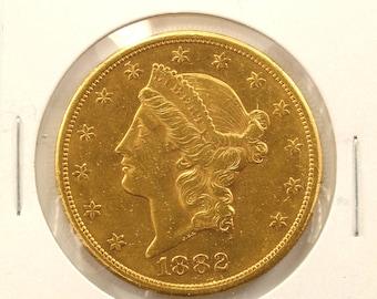 1882 Gold 20 Dollars Liberty Head Double Eagle Gold Coin-E