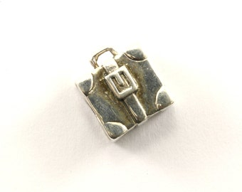 Vintage Suitcase Travel Bead Charm Sterling 925 CH 115