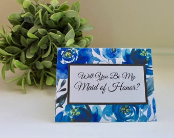 Bridal Party Proposal Cards, Will You Be My Bridesmaid Card, Will You Be My Maid of Honor Card, Bridesmaid Proposal, Blue
