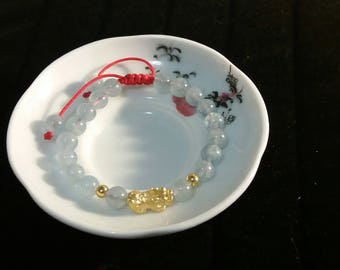 Natural Aquamarine Beaded Chinese Red String Bracelet with One 24K Pure Gold Pixiu Bead and Two Mini 24K Pure Gold Beads