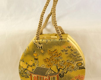 Lovely 1940s 1950s Oriental Chinese Chinoiserie Handbag Purse with Pocket and Mirror
